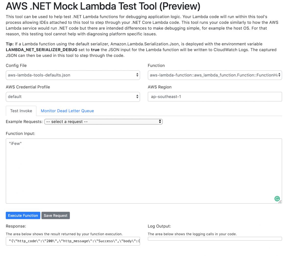 ทดสอบ  NET AWS Lambda ด้วย AWS  NET Mock Lambda Test Tool